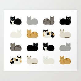 Cat Loaf 2 - White Ground Art Print