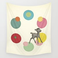 bambi Wall Tapestries featuring Go Bambi! by Cassia Beck