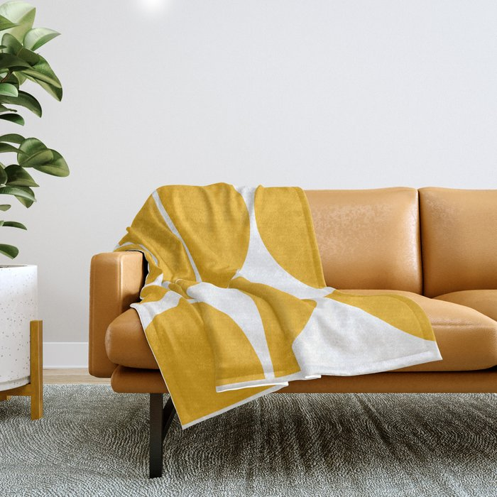 Mid Century Modern Yellow Square Throw Blanket