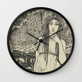 Woman in forest landscape - Gust of the Wall Perné, (1900) Wall Clock