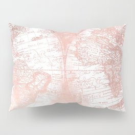 Rose Gold Pink Antique World Map by Nature Magick Pillow Sham