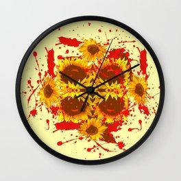 CAUTION: DANGEROUS SUNFLOWERS YELLOW-RED ART Wall Clock