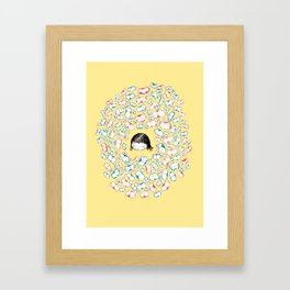 she mostly dreams in cats  Framed Art Print