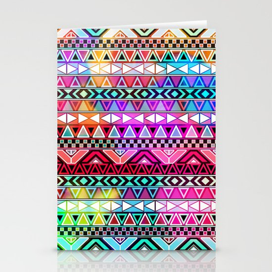 Neon Aztec   Purple Pink Neon Bright Andes Abstract Pattern Stationery Cards