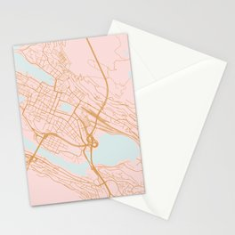 Bergen map, Norway Stationery Cards