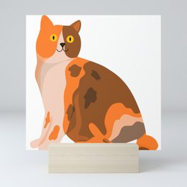 Cute Happy Orange Tricolour Cat Pet Art For Animal Lovers Mini Art Print