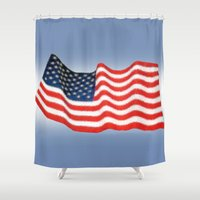 american flag Shower Curtains featuring American Flag by George Robinson