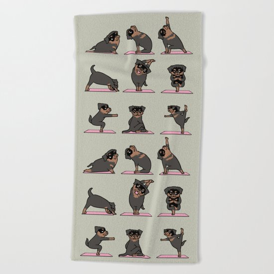 Rottweiler Yoga Beach Towel
