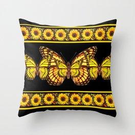 YELLOW MONARCH BUTTERFLIES & SUNFLOWERS BLACK ART Throw Pillow