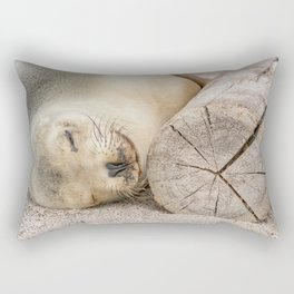 Sleeping sea lion on the beach Rectangular Pillow