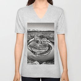 Horseshoe Bend Arizona Black and White Unisex V-Neck