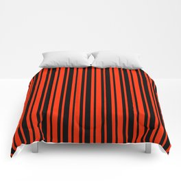 Bright Red and Black Vertical Var Size Stripes Comforters