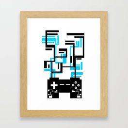 8-BIT JOYSTICK (BLUE AND BLACK) Framed Art Print