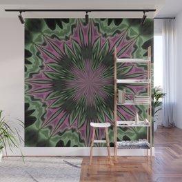 Rose and Jade Floral Fantasy Mandala Pattern Wall Mural
