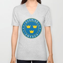 Sweden, Sverige, 3 crowns, circle Unisex V-Neck