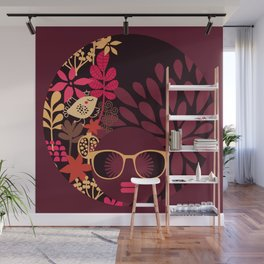 Afro Diva : Sophisticated Lady Deep Pink & Burgundy Wall Mural