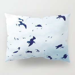 Free - Seagulls fly high up in the sky. Pillow Sham