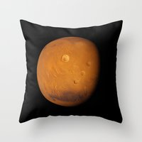 mars Throw Pillows featuring Mars by Space99