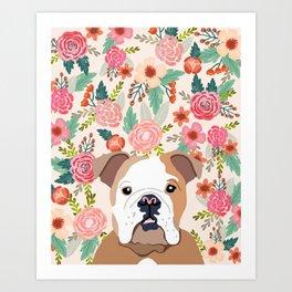 Bulldog Florals Print - bulldog print, bulldogs, cute bulldog, english bulldog, bulldog gift, bulldo Art Print