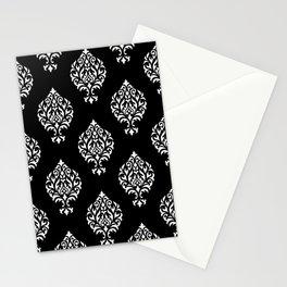 Orna Damask Pattern White on Black Stationery Cards