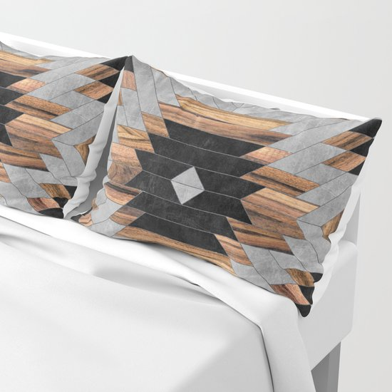 Urban Tribal Pattern No.6 - Aztec - Concrete and Wood by zoltanratko