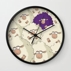 Sheep Pattern | Purple Wall Clock