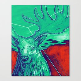 Stag Dimension of Teal Canvas Print