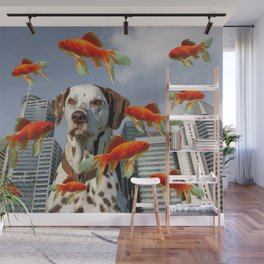 Skyline Singapur with Dalmatian dog and Goldfish Wall Mural