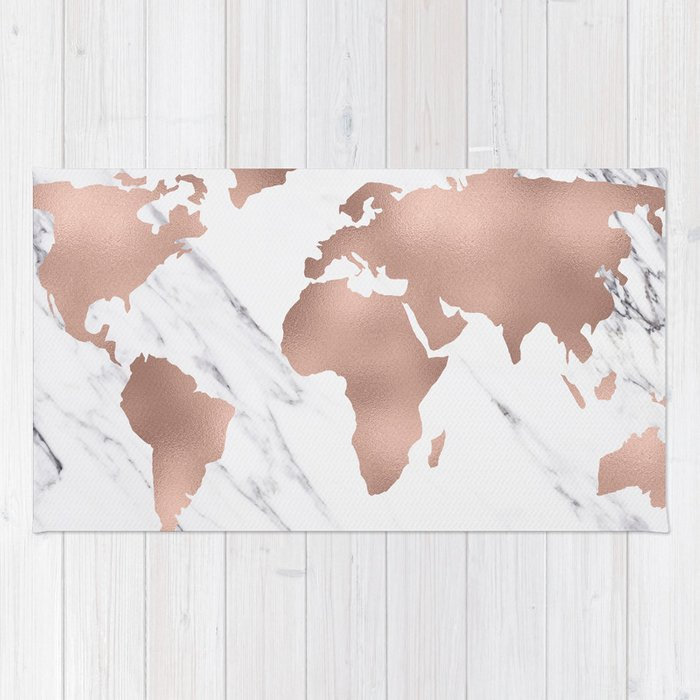 Marble world map rose gold pink rug by mapmaker society6 marble world map rose gold pink rug gumiabroncs Images