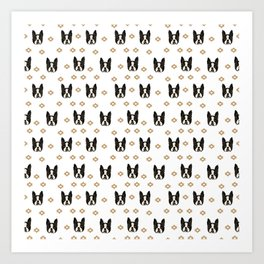 Boston Terrier head cute pet pattern dog breed gifts boston terrier lovers black and white Art Print