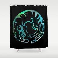 zodiac Shower Curtains featuring Tiger zodiac by Julie Luke