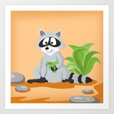 Woodland Animals Serie I. Raccoon Art Print