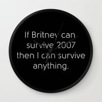 britney Wall Clocks featuring Britney Spears by Jarrah James