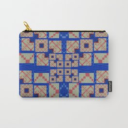 Retro Futuristic Modern Blue and Red Patchwork Geometry Carry-All Pouch