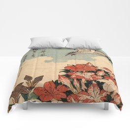 Hokusai Cuckoo and azaleas -hokusai,manga,japan,Katsushika,cuckoo,azaleas,Rhododendron Comforters