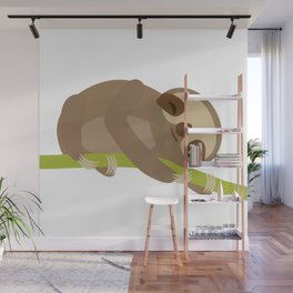 funny and cute Three-toed sloth on green branch Wall Mural