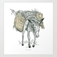 donkey Art Prints featuring Donkey by Dennis Wilder