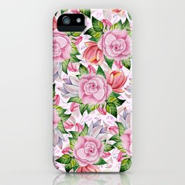 Watercolor pink lavender colorful hand painted roses flowers iPhone Case