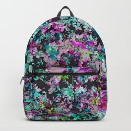 Teal and Purple Floral Collage Pattern Backpack