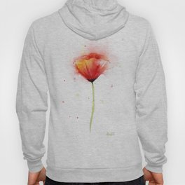 Red Poppy Flower Watercolor Abstract Poppies Floral Hoody