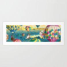 Hot Air Balloons Over Forest Park Art Print