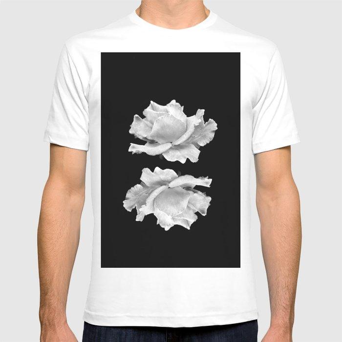 White Rose On Black T-shirt