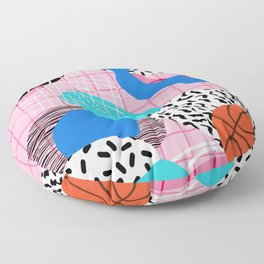Hot Hand - memphis retro throwback neon grid pattern minimal modern pop art basketball sports Floor Pillow