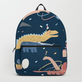 Vintage illustration with dino's birthday party. Seamless pattern with dinosaur birthday. Cute cartoon dino character. Dinosaur with gifts and confetti around Backpack