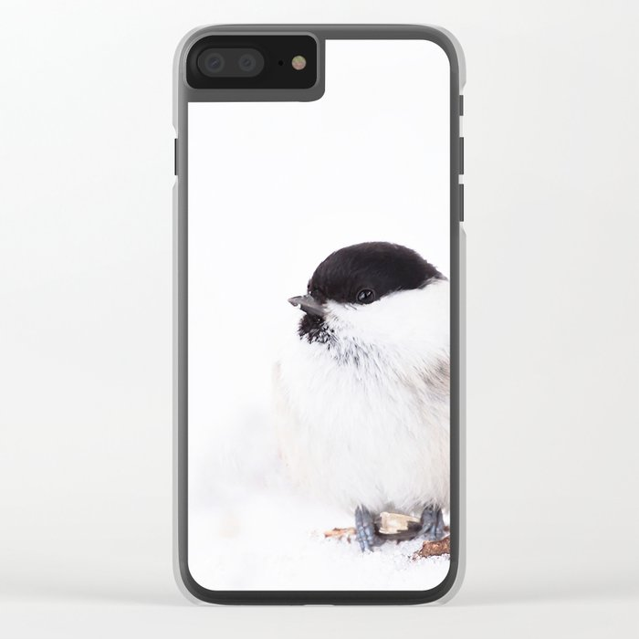 Cute Willow Tit sitting in the snow #decor #buyart #society6 Clear iPhone Case