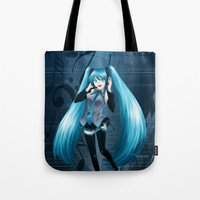 vocaloid Tote Bags featuring Vocaloid Hatsune Miku by RAVEFIRELL