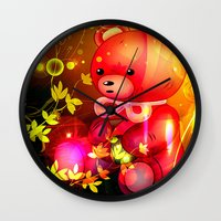 """arnold Wall Clocks featuring """"Arnold"""" by shiva camille"""