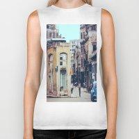 cuba Biker Tanks featuring Old Downtown Havana Cuba by Rafael Salazar