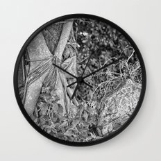 Strangler fig and boulder in the rain forest Wall Clock