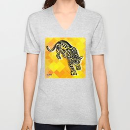 jaguars in gold ecopop Unisex V-Neck